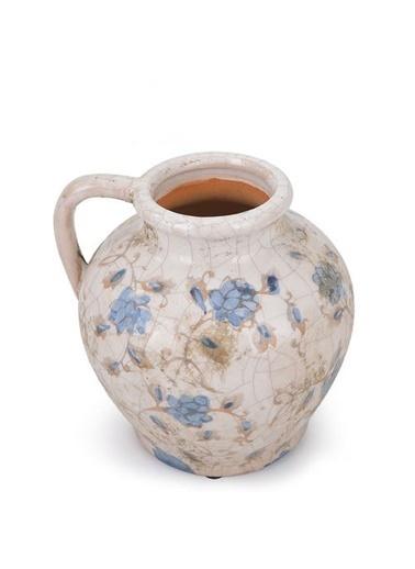 Warm Design Çiçekli Toprak Vazo Mavi